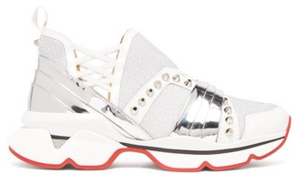Christian Louboutin 123 Run Studded Leather Trimmed Trainers - Womens - White Silver