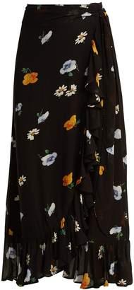 Ganni Dainty georgette floral-print wrap skirt