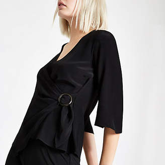 River Island Black ring tie waist blouse