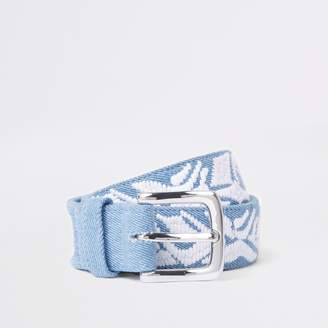 River Island Womens Light Blue embroidered denim belt