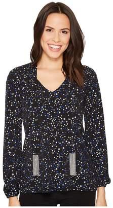 MICHAEL Michael Kors Shoot Star Long Sleeve Tie Top Women's Clothing