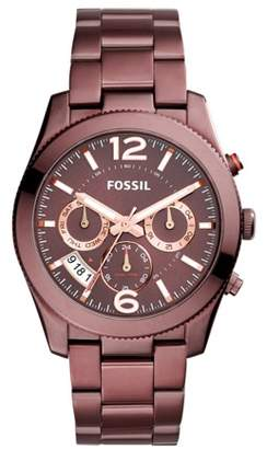 Fossil Perfect Boyfriend Multifunction Wine Stainless Steel Watch Jewelry