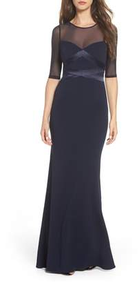 Adrianna Papell Satin Trim Crepe Trumpet Gown