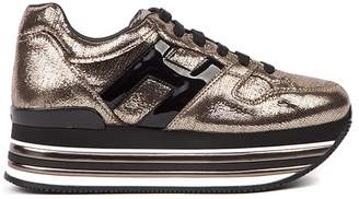Hogan Maxi H222 Bronze Leather Sneaker