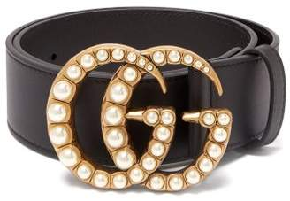 Gucci Pearl Embellished Gg Logo 4cm Leather Belt - Womens - Black