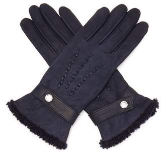 Agnelle Shearling Trimmed Suede Gloves - Womens - Navy