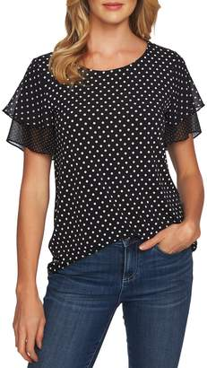 CeCe Refined Tiered Ruffle Sleeve Blouse