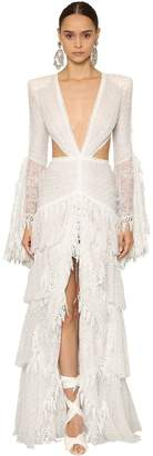 Deep V Neck Cut Out Tulle & Lace Dress