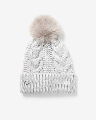 Express Metallic Cable Knit Pom Beanie