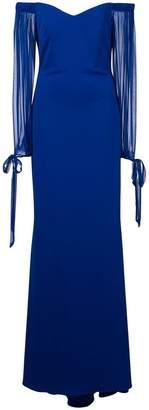Badgley Mischka off-the-shoulder gown