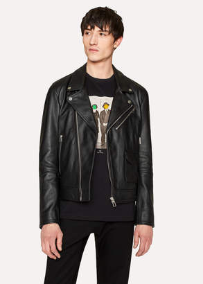 Paul Smith Men's Heavy Grained-Leather Asymmetric-Zip Biker Jacket