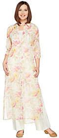 C. Wonder Petite Spring Floral Print ButtonFront Duster