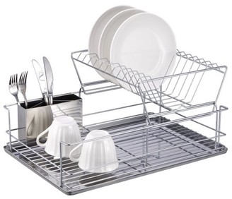 """HDS Trading Corp 2 Tier Stainless Steel Dish Rack 12.5"""" x 18.75"""" x 9"""""""