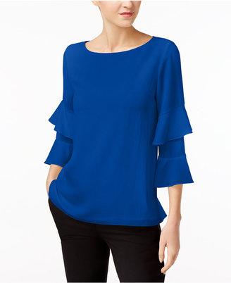 Calvin Klein Ruffle-Sleeve Top $79.50 thestylecure.com