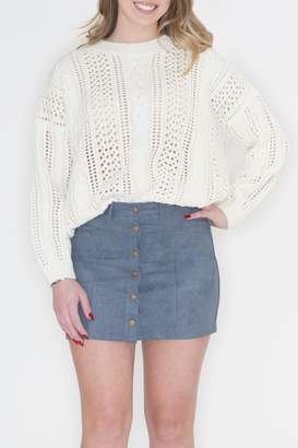 POL Ivory Cable-Knit Sweater