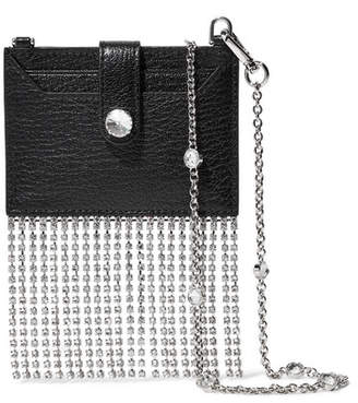 Miu Miu Madras Crystal-embellished Textured-leather Shoulder Bag - Black
