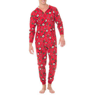 ONESIES Fleece Onesies One Piece Pajama Red Holiday Print-Mens