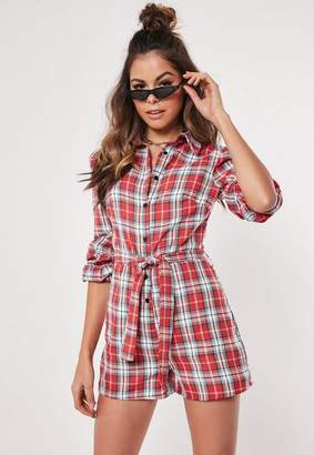 824f6168145 Missguided Red Checked Long Sleeve Playsuit