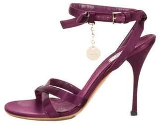 Gucci Suede Ankle Strap Sandals Purple Suede Ankle Strap Sandals