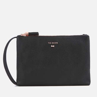 Ted Baker Women's Suzette Leather Double Zipped Cross Body Bag - Black