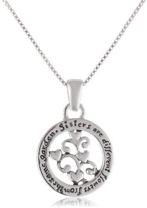 "Sterling ""Sisters Are Different Flowers From The Same Garden"" Pendant Necklace"