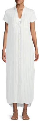 Onia Kim Button-Front Striped Coverup Maxi Dress