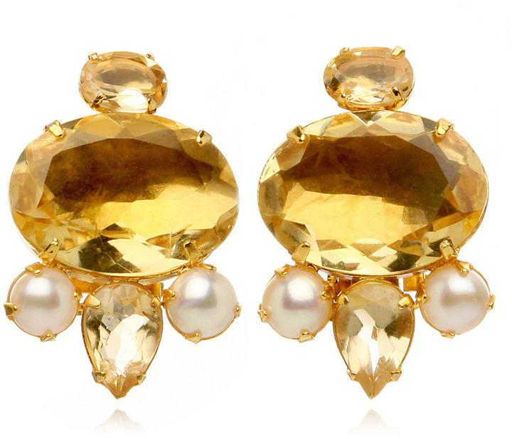 Bounkit Faceted Lemon Quartz & Mother of Pearl Button Earrings