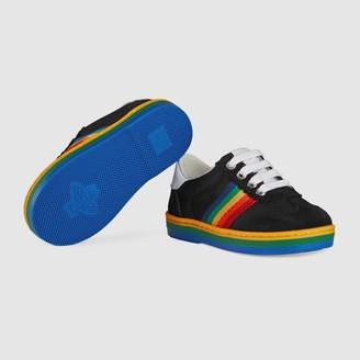 Gucci Toddler G74 sneaker with rainbow stripe