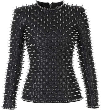Balmain Spike-Embellished Quilted Leather Top Size: 34
