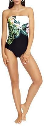 Jets Floral-Print Bandeau One-Piece Swimsuit