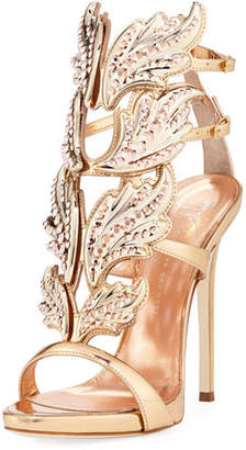 Giuseppe Zanotti Coline Wings Leather 110mm Sandals, Rose Gold