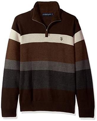 U.S. Polo Assn. Men's Striped 1/4 Zip Sweater W/Sherpa Neck