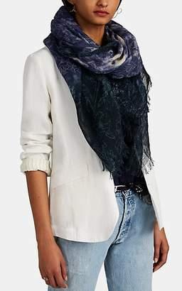 Pas De Calais Women's Tie-Dyed Floral Linen Gauze Scarf - Blue