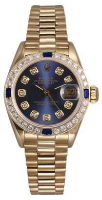 Rolex President 18K Yellow Gold Navy Blue Diamond Dial and Bezel 26mm Womens Watch