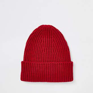 River Island Red fisherman knit beanie hat