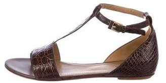 Santoni Leather Embossed Sandals
