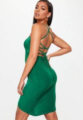 Missguided Green Slinky Strappy Tie Back Thigh Split Dress