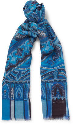 Etro Paisley-Print Modal, Wool, Silk and Cashmere-Blend Scarf