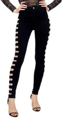 37266b5accf Topshop Joni Cutout High Waist Skinny Jeans