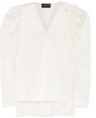 Magda Butrym Sapporo Ruffled Silk-satin Blouse - Cream