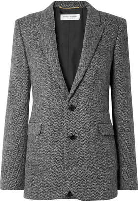 Saint Laurent Herringbone Wool Blazer - Gray