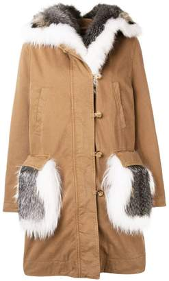 Ermanno Scervino fur trim padded coat