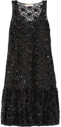 MICHAEL Michael Kors - Sequin-embellished Tulle Dress - Black $395 thestylecure.com