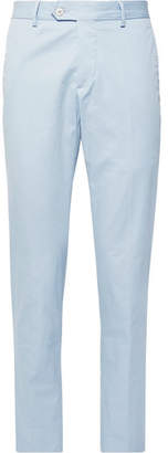 Caruso Sky-Blue Stretch-Cotton Twill Suit Trousers