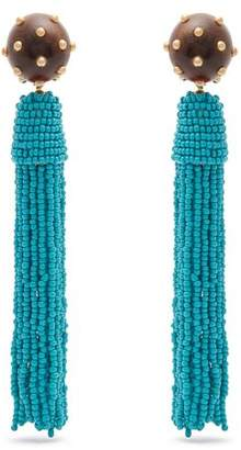 Vanda Jacintho - Embellished Tassel Drop Clip On Earrings - Womens - Green