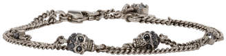 Alexander McQueen Silver Double Chain Skull Bracelet