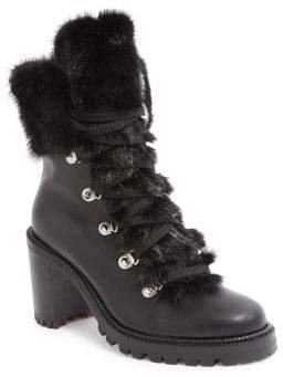 Christian Louboutin Fanny 70 Fur-Trimmed Leather Lace-Up Booties