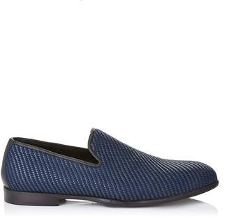 Jimmy Choo MARLO Navy Mix Woven Fabric Slippers