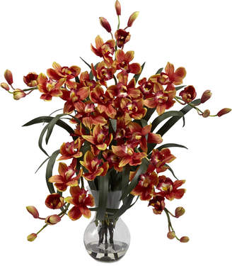 Nearly Natural Large Cymbidium Artificial Arrangement with Vase