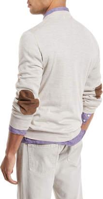 fa844342af Brunello Cucinelli Fine-Gauge Knit Elbow-Patch Sweater